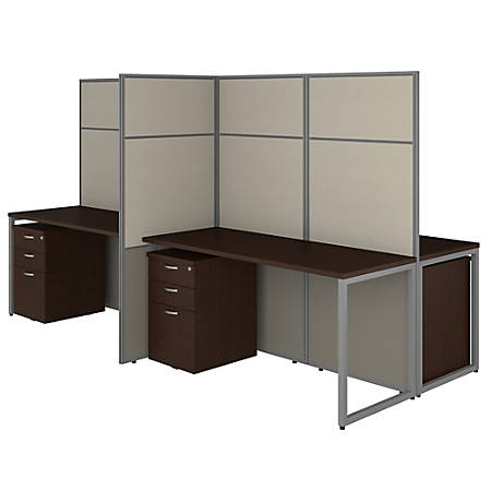 """Bush Business Furniture Easy Office 60""""W 4-Person Cubicle Desk With File Cabinets And 66""""H Panels, Mocha Cherry, Standard Delivery"""