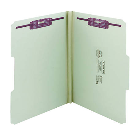 """Smead® Pressboard Fastener Folders With SafeSHIELD® Fasteners, 1"""" Expansion, Letter Size, 60% Recycled, Gray/Green, Box Of 25"""