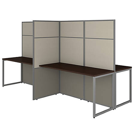 """Bush Business Furniture Easy Office 60""""W 4-Person Cubicle Desk Workstation With 66""""H Panels, Mocha Cherry, Standard Delivery"""