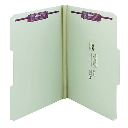 """Smead® Pressboard Fastener Folders With SafeSHIELD® Coated Fasteners, 1"""" Expansion, Legal Size, 60% Recycled, Gray/Green, Box Of 25"""