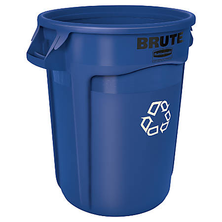 "Rubbermaid® Heavy-Duty Recycling Container, 32 Gallons, 27"" x 22"" x 22"", Blue"