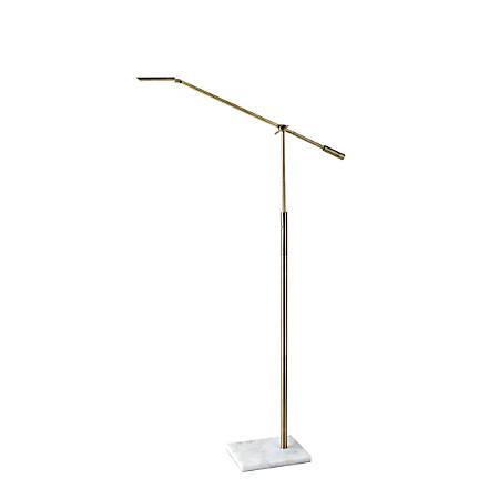 "Adesso® Vera LED Floor Lamp, 61""H, Antique Brass Shade/White Base"