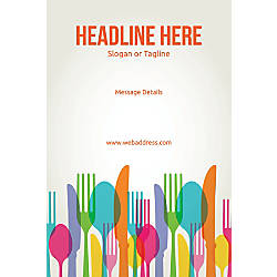 Adhesive Sign Spoons and Forks Vertical