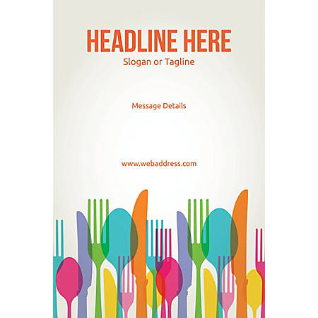 Adhesive Sign, Spoons and Forks, Vertical