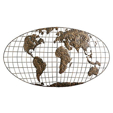 Southern Enterprises Metal Wall Art, World Map