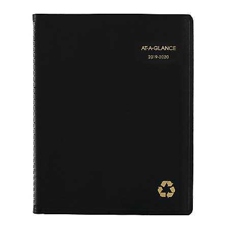 "AT-A-GLANCE® Academic Weekly/Monthly Planner, 8-1/4"" x 10-7/8"", 100% Recycled, Black, July 2019 to June 2020"