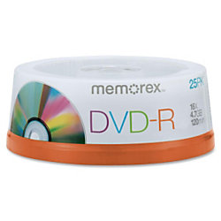 Memorex™ DVD-R Recordable Media Spindle, 4.7GB/120 Minutes, Pack Of 25