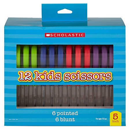 "Scholastic Kids Scissors, 5"", Blunt, Assorted Colors, Pack Of 12"