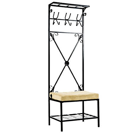"Southern Enterprises Multipurpose Decorative Coat Rack, Bench Seat, 72 1/2""H x 24""W x 18""D, Black/Beige"