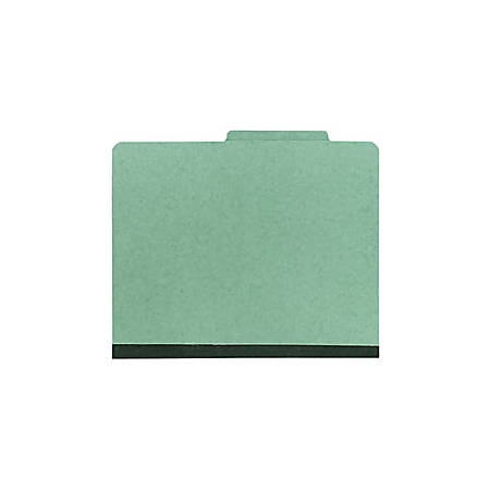 Office Depot® Brand Pressboard Classification Folder, 2 Dividers, 6 Partitions, 1/3 Cut, Letter Size, 30% Recycled, Green