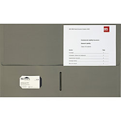"Business Source 8-1/2x11 Double Pocket Portfolio - Letter - 8 1/2"" x 11"" Sheet Size - 125 Sheet Capacity - Inside Front & Back Pocket(s) - Paper Stock - Gray - 25 / Box"