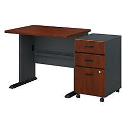 "Bush Business Furniture Office Advantage 36""W Desk With Mobile File Cabinet, Hansen Cherry/Galaxy, Premium Installation"