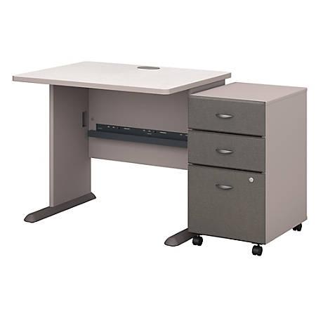 "Bush Business Furniture Office Advantage 36""W Desk With Mobile File Cabinet, Pewter/White Spectrum, Premium Installation"