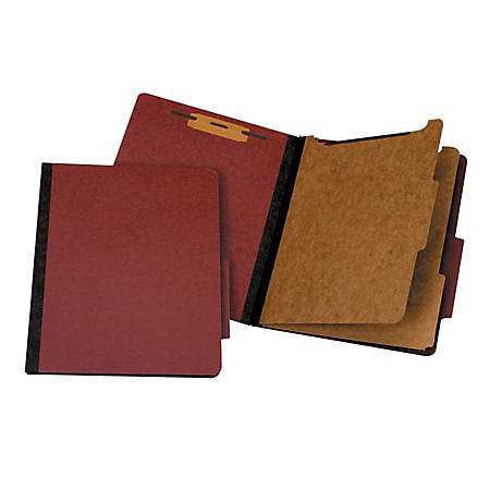Office Depot® Brand Pressboard Classification Folder, 2 Dividers, 6 Partitions, 1/3 Cut, Letter Size, 30% Recycled, Red/Brown