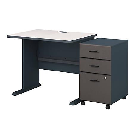 """Bush Business Furniture Office Advantage 36""""W Desk With Mobile File Cabinet, Slate/White Spectrum, Premium Installation"""