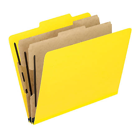"""Pendaflex® PressGuard® Color Classification File Folder, 8 1/2"""" x 11"""", Letter Size, 60% Recycled, Yellow, Box Of 10"""