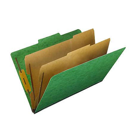 """Pendaflex® PressGuard® Color Classification File Folder, 8 1/2"""" x 14"""", Legal Size, 60% Recycled, Green, Box Of 10"""