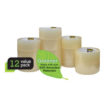 """Scotch® 3750 Greener Commercial Grade Packing Tape, 1 7/8"""" x 49.2 Yd., Clear, Pack Of 12"""