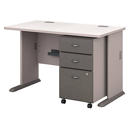 "Bush Business Furniture Office Advantage 48""W Desk With Mobile File Cabinet, Pewter/White Spectrum, Premium Installation"