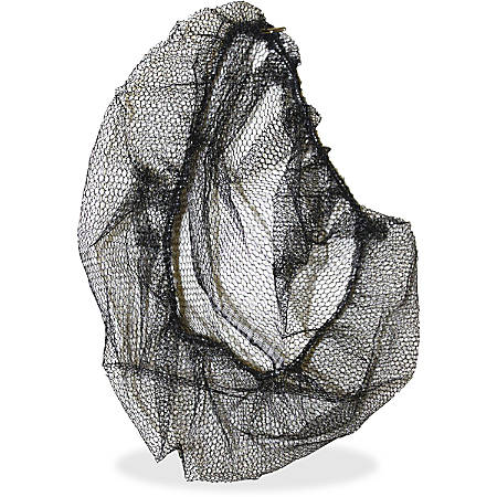 "Genuine Joe Black Nylon Hair Net - Comfortable, Lightweight, Durable, Tear Resistant - Large Size - 21"" Stretched Diameter - Contaminant Protection - Nylon - Black - 100 / Pack"