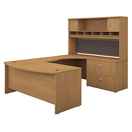 """Bush Business Furniture Components 72""""W Right-Handed Bow-Front U-Shaped Desk With Hutch And Storage, Light Oak, Standard Delivery"""