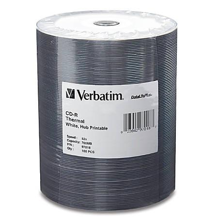 Verbatim CD-R 700MB 52X DataLifePlus White Thermal Printable, Hub Printable - 100pk Tape Wrap