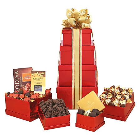 Givens Gift Basket, Godiva Holiday Tower, Red, 5 Lb