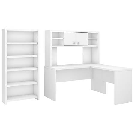 kathy ireland® Office by Bush Business Furniture Echo L Shaped Desk With Hutch And 5 Shelf Bookcase, Pure White, Standard Delivery