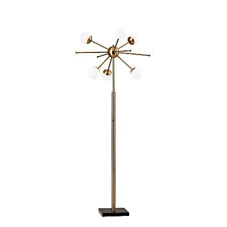 """Adesso® Doppler LED Floor Lamp, 63-1/2""""H, White Shade/Black Base"""