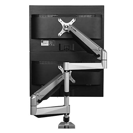 "Loctek Vertical Dual Monitor Mount for Monitors Up To 27"", Silver"