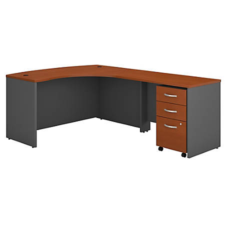 Bush Business Furniture Components Right-Handed L-Shaped Desk With Mobile File Cabinet, Auburn Maple/Graphite Gray, Standard Delivery