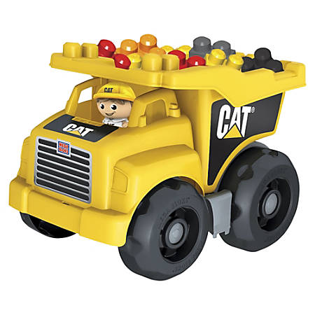 Mega Bloks Cat Dump Truck - Moveable Bin that Tilts Back to Dump Out Blocks - Includes 1 Construction Worker Figurine and 25 Blocks
