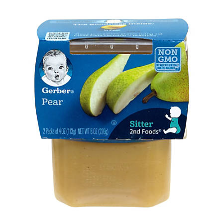 Gerber 2nd Foods Pear Baby Food Tubs, 4 Oz, 2 Tubs Per Pack, Case Of 8 Packs