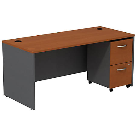 Bush Business Furniture Components Desk With 2-Drawer Mobile Pedestal, Auburn Maple/Graphite Gray, Standard Delivery