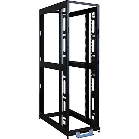 """Tripp Lite 45U 4-Post Open Frame Rack Cabinet Square Hole Heavy Duty Caster - 45U Rack Height x 19"""" Rack Width - Black - 3000 lb Dynamic/Rolling Weight Capacity - 3000 lb Static/Stationary Weight Capacity"""