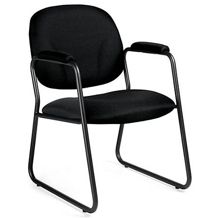 """Global® Solo™ Fabric Guest Chairs With Arms, 34""""H x 22""""W x 25""""D, Black Frame, Black Fabric, Carton Of 2"""