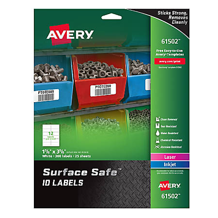"""Avery® Surface Safe™ ID Labels, 1 5/8"""" x 3 5/8"""", White, Pack Of 300 Labels"""