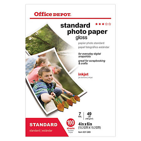 "Office Depot® Brand Standard Photo Paper, Glossy, 4"" x 6"", 7 Mil, Pack Of 100 Sheets"