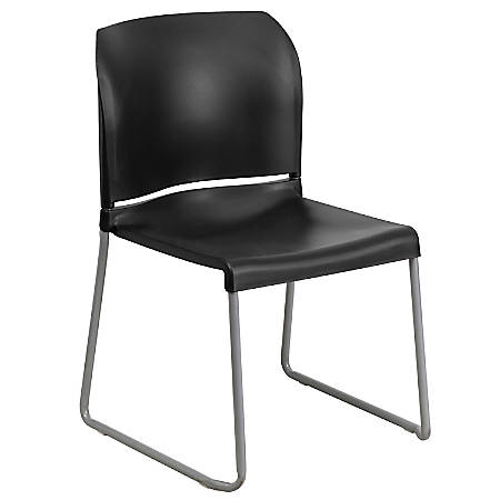 Flash Furniture HERCULES Series Full-Back Contoured Stacking Chair With Sled Base, Black/Silver