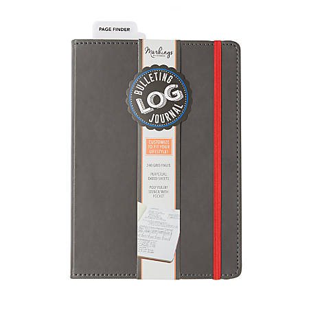 """Markings by C.R. Gibson® Bulletin Log Journal, 6"""" x 8 1/2"""", 240 Pages (120 Sheets), Gray"""