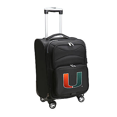 """Denco Sports Luggage Expandable Upright Rolling Carry-On Case, 21"""" x 13 1/4"""" x 12"""", Black, Miami Hurricanes"""