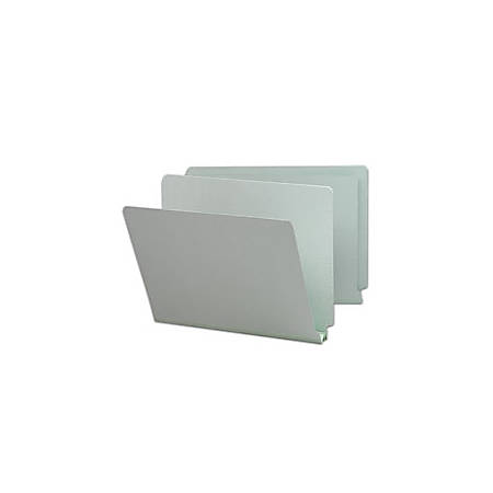 Smead® Extra-Strength Pressboard End-Tab Folders, Straight Cut, Legal Size, 60% Recycled, Gray/Green, Pack Of 25