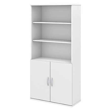 Bush Business Furniture Studio C 5 Shelf Bookcase with Doors, White, Premium Installation