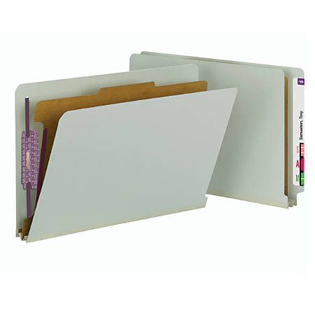 Smead® Full End-Tab Classification Folder With SafeSHIELD Fastener, 1 Divider, 4 Partitions, Straight Cut, Legal Size, 60% Recycled, Gray/Green