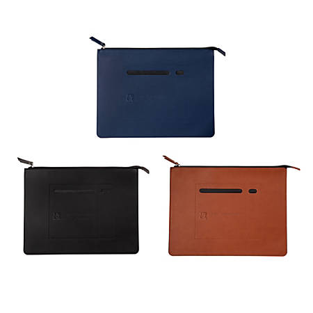 "Faux Leather Zip File Folder, 9-3/4"" x 12-3/4"", Letter Size"