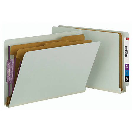Smead® Full End-Tab Classification Folder With SafeSHIELD Fastener, 2 Dividers, 6 Partitions, Straight Cut, Legal Size, 60% Recycled, Gray/Green