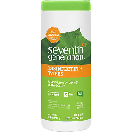 """Seventh Generation Lemongrass Scented Disinfecting Wipes - Wipe - Lemongrass Citrus Scent - 7"""" Width x 8"""" Length - 35 / Canister - 12 / Carton"""