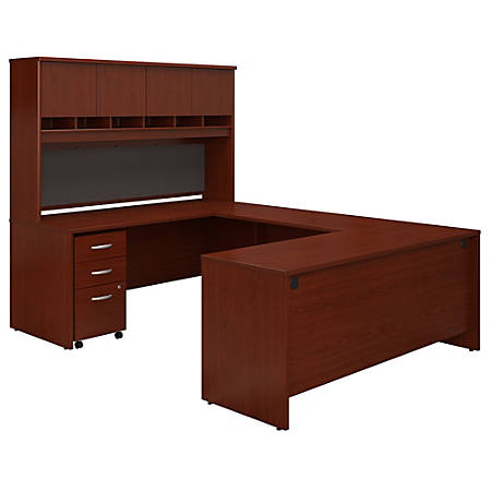 """Bush Business Furniture Components 72""""W U-Shaped Desk With Hutch And Storage, Mahogany, Standard Delivery"""