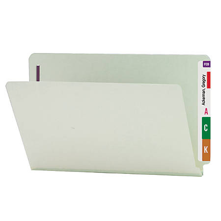 "Smead® Pressboard End-Tab Folders With Fasteners, Straight Cut, 1"" Expansion, Legal Size, 60% Recycled, Gray/Green, Pack Of 25"