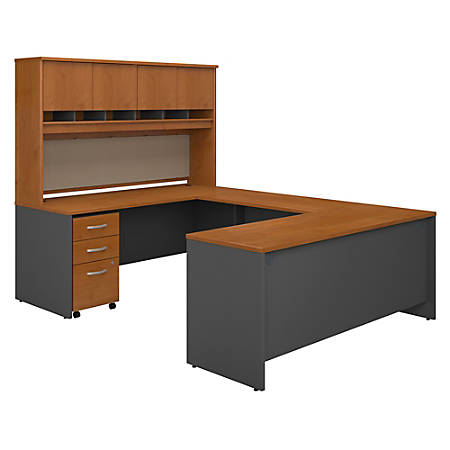 "Bush Business Furniture Components 72""W U-Shaped Desk With Hutch And Storage, Natural Cherry/Graphite Gray, Standard Delivery"